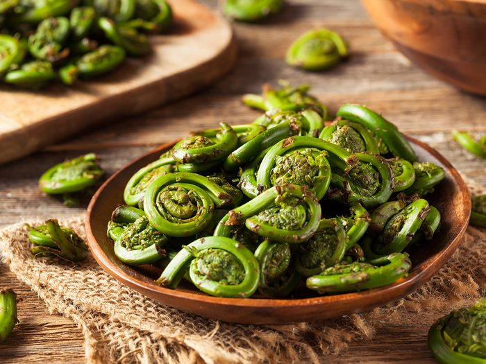 Superfoods, bowl of fiddleheads