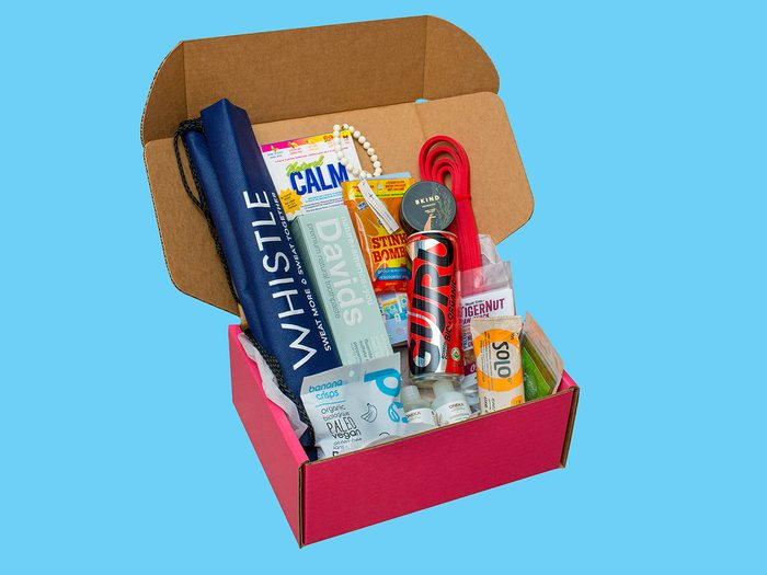 Workout gear, a Balanced Box subscription filled with wellness goodies
