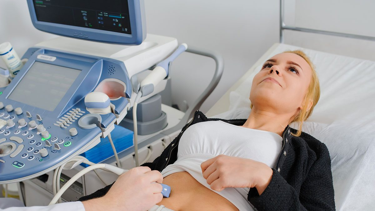 Cancer, woman getting an ultrasound