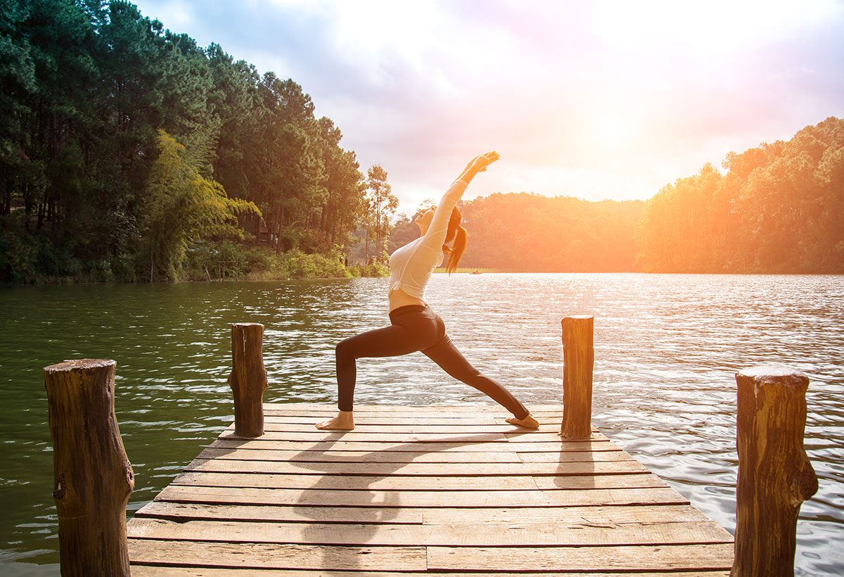 happy People, woman doing morning yoga