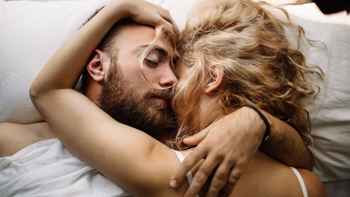 Relationship, couple in bed