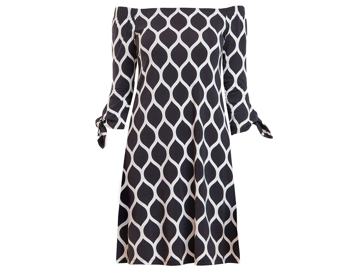 Earth Day tips, black-and-white Miik dress