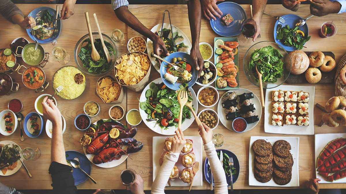 Breast Cancer Advancements, family at table eating