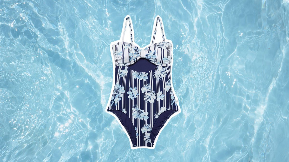 Swimwear for Body Shapes, blue one-piece swimsuit