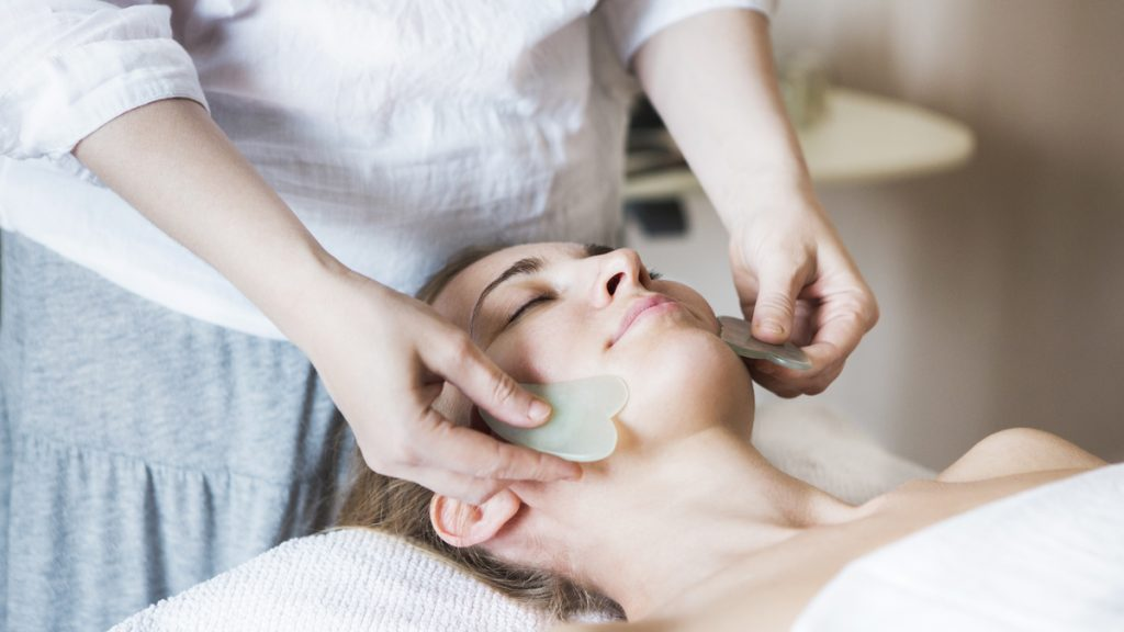 gua sha facial therapy massage technique