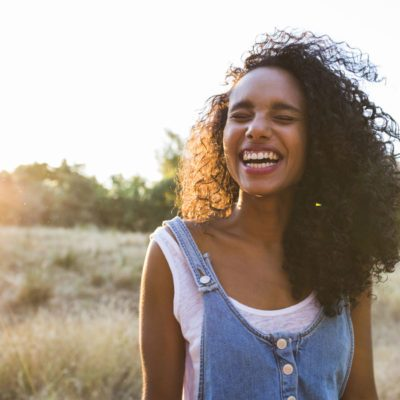 Curly Hair, woman laughing