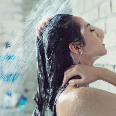 Healthy Scalp, woman in shower
