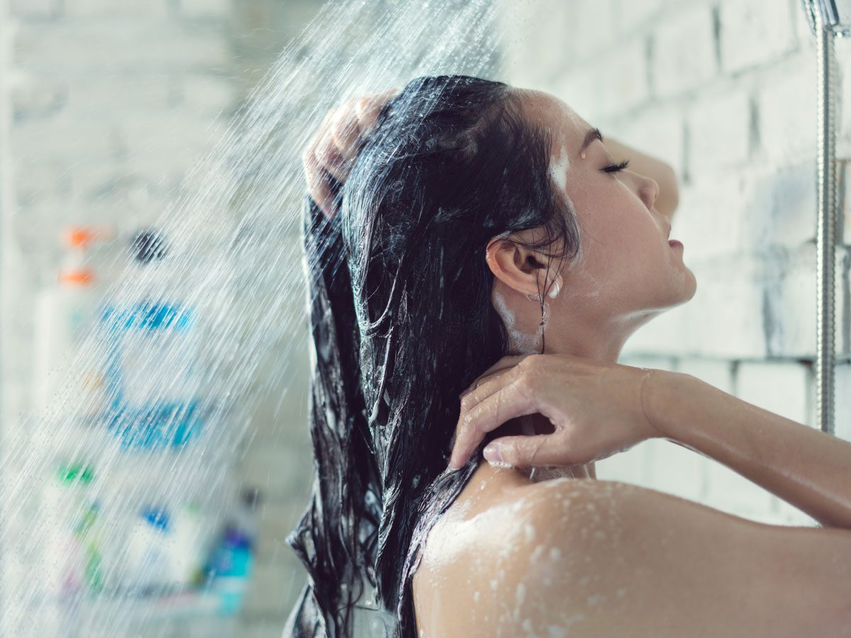 Healthy Scalp, woman in shower