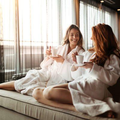 Relaxation, two women relaxing