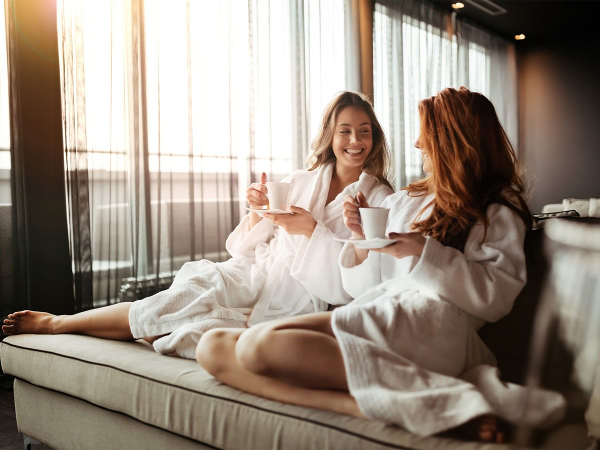 Relaxation, two women relaxing