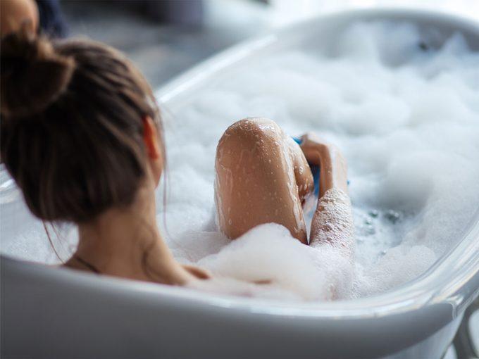 Prevent Eczema, woman in tub