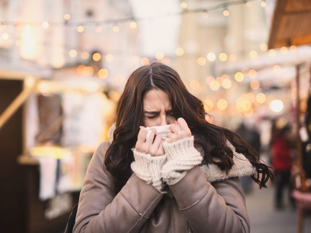 woman cough cold flu