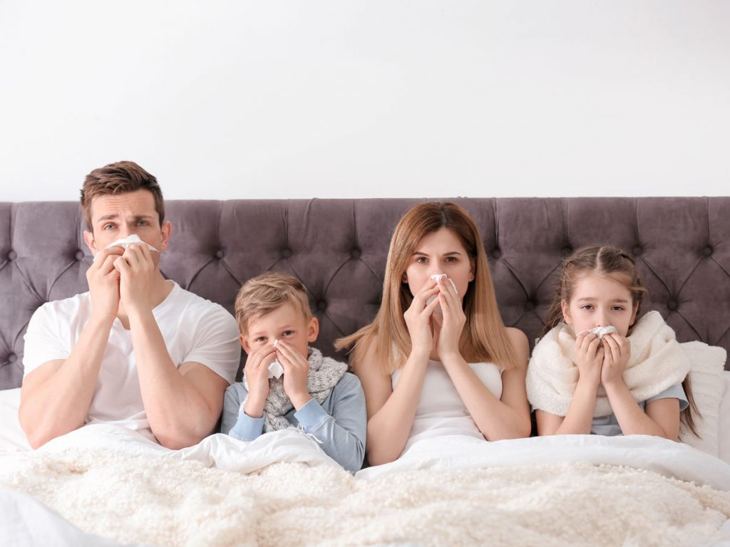 family sick with the flu