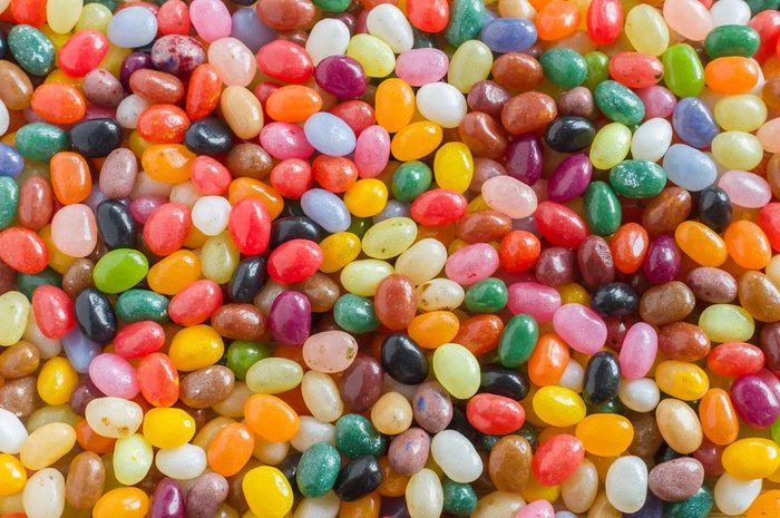 Colorful jelly beans candy background, overlook view