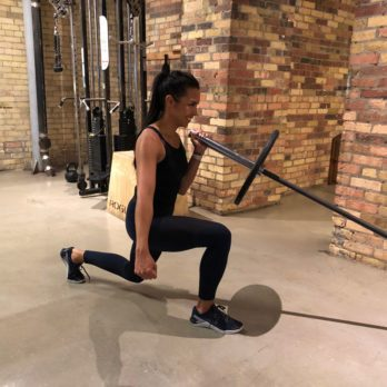 Strength Workout: Landmine Reverse Lunge with Press