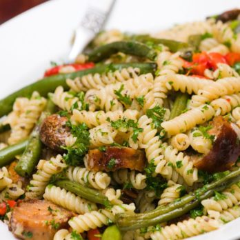 Whole-Wheat Rotini with Asparagus and Portobello Mushrooms