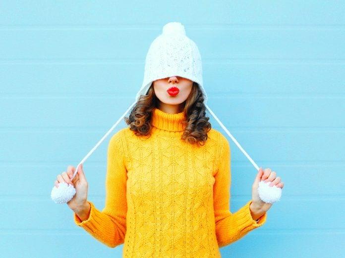 winter hair care hat head