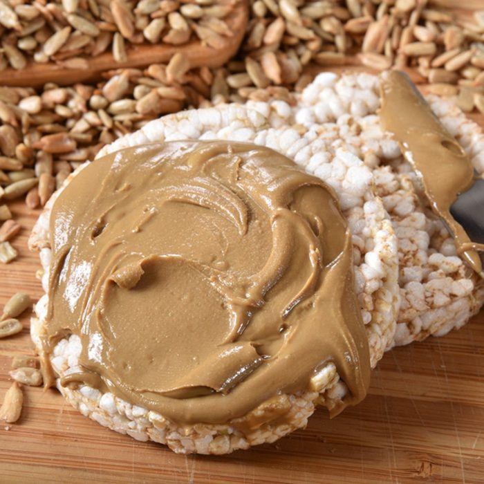 Organic brown rice cakes with healty organic sunflower seed butter.