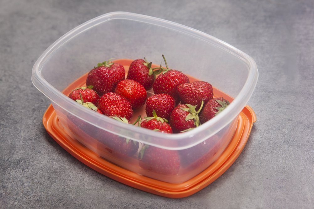 Strawberries in a tupperware