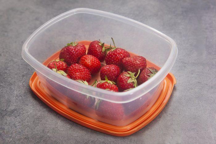 Strawberries in a tupperware
