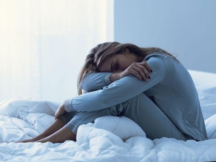 CBD woman sleeping insomnia