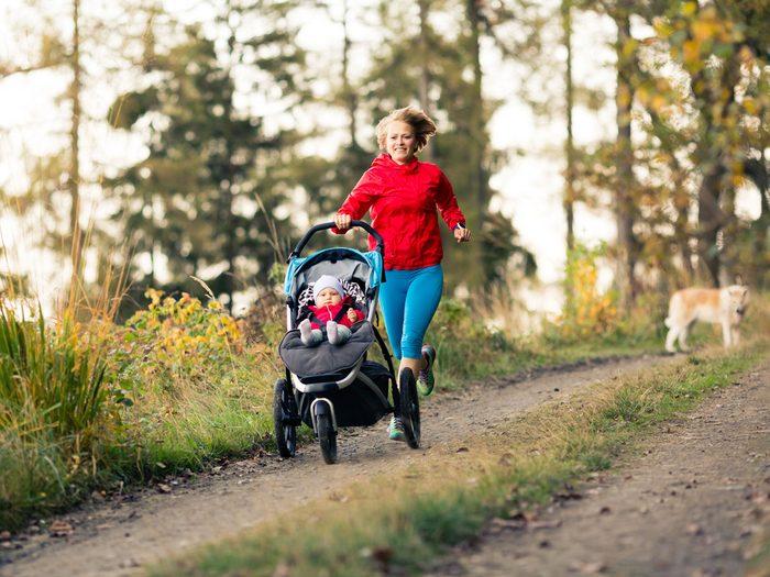 mom baby running stroller