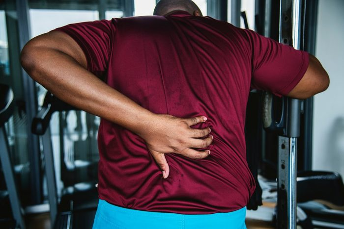 Man having problems with his back