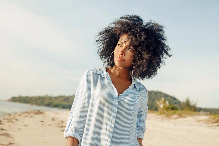 sunlight beach woman