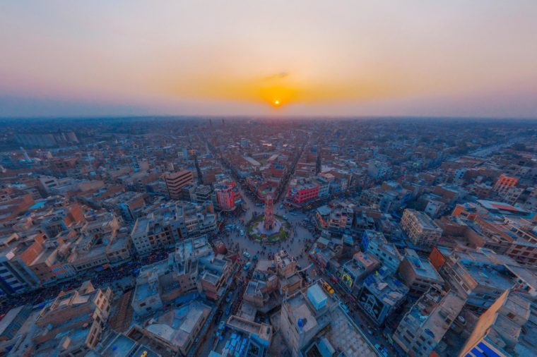 Aerial View Of Clock Tower Faisalabad