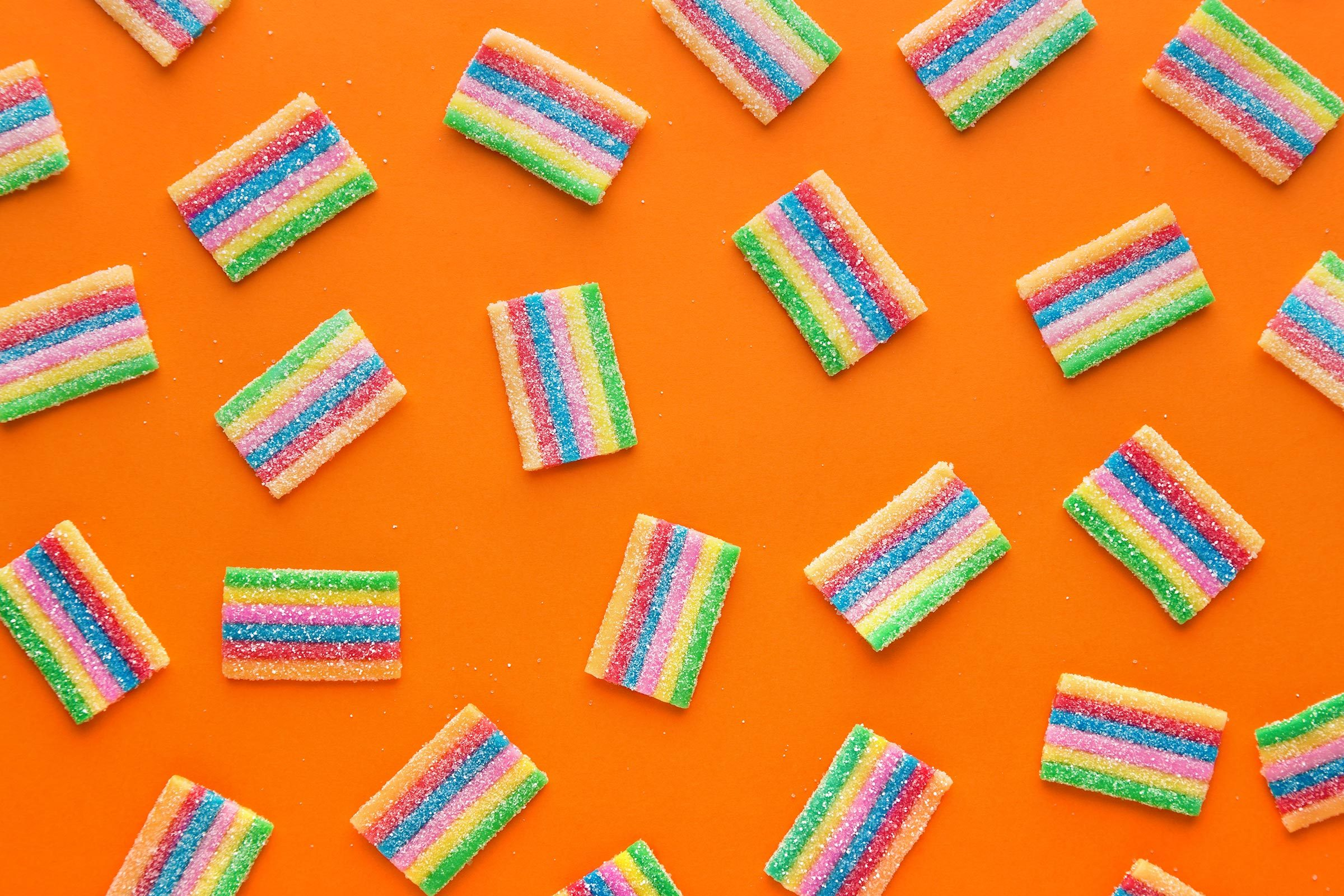 gummy sour candy pattern orange background