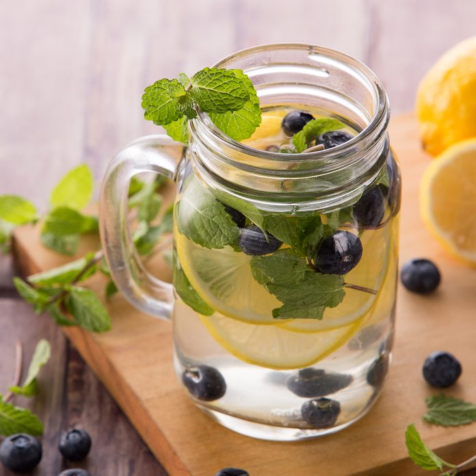 portrait of Summer fresh fruit drink. fruit Flavored water mix with lemon, blueberry and mint leaves; Shutterstock ID 294676403; Job (TFH, TOH, RD, BNB, CWM, CM): Taste of Home