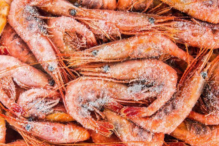 frozen shrimp in a box