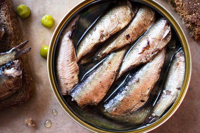 Tin can of sprats, sardines. Top view
