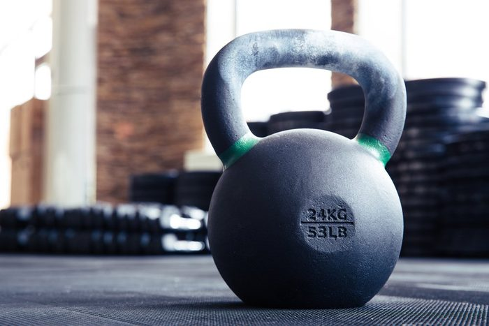 Closeup image of a kettle ball in fitness gym