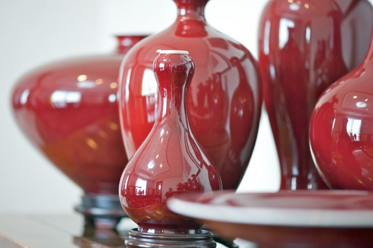Red Oxblood porcelain vases in Qing dynasty style made in Taiwan