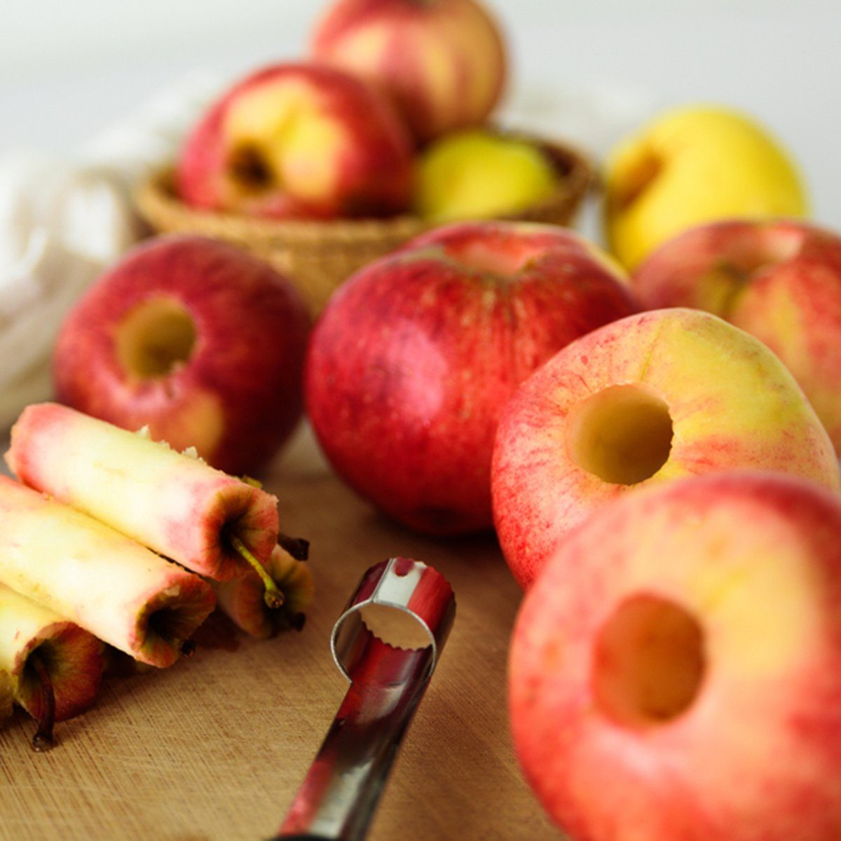 Fresh apples without core.