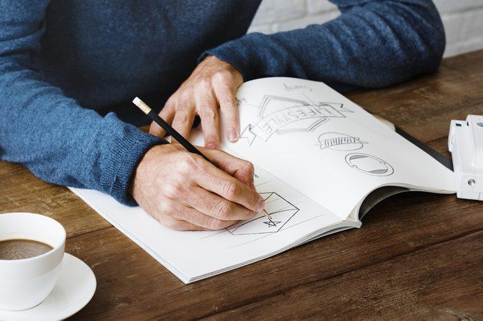 Man Drawing Sketch Design Label Artwork Concept