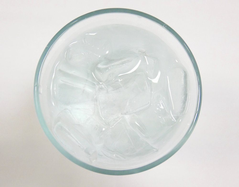 Top view glass of water