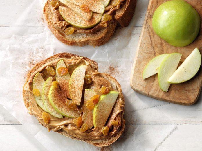 open-faced sandwich | peanut butter apple raisin