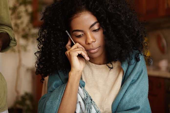African-American woman on the phone