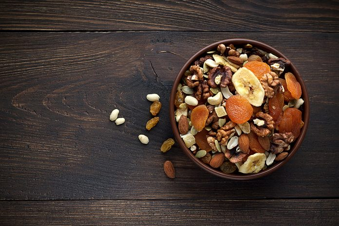 bowl of nuts and dried fruit