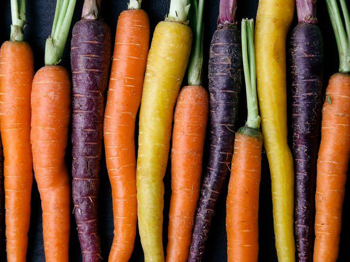 health benefits of carrots - coloured carrots