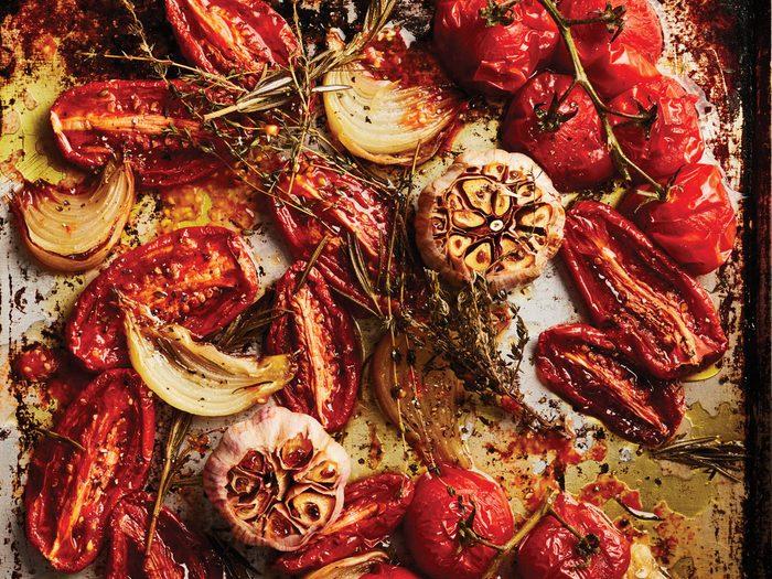 roasted tomato soup - sheet pan veggies