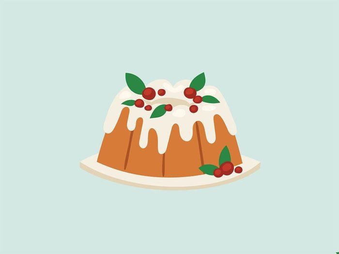 binge at a holiday party christmas cake