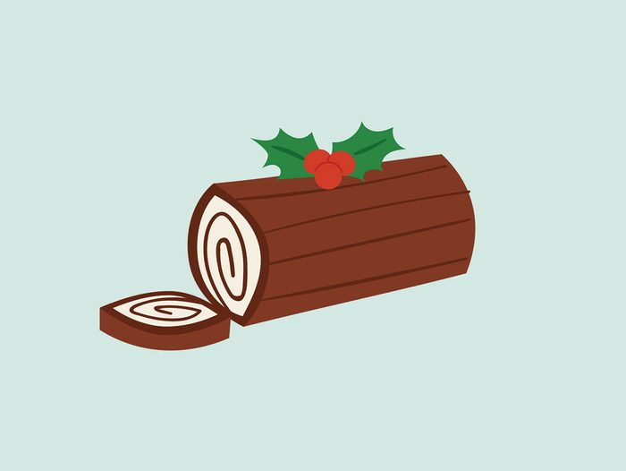 binge at a holiday party log cake