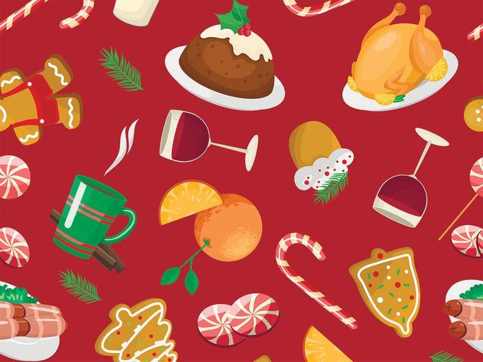binge at a holiday party christmas treats