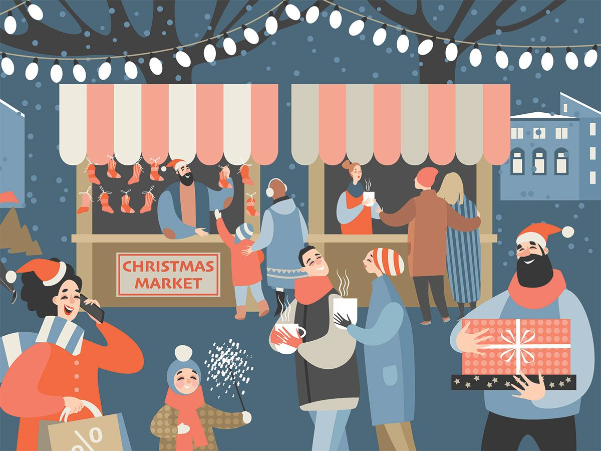 christmas market illustration