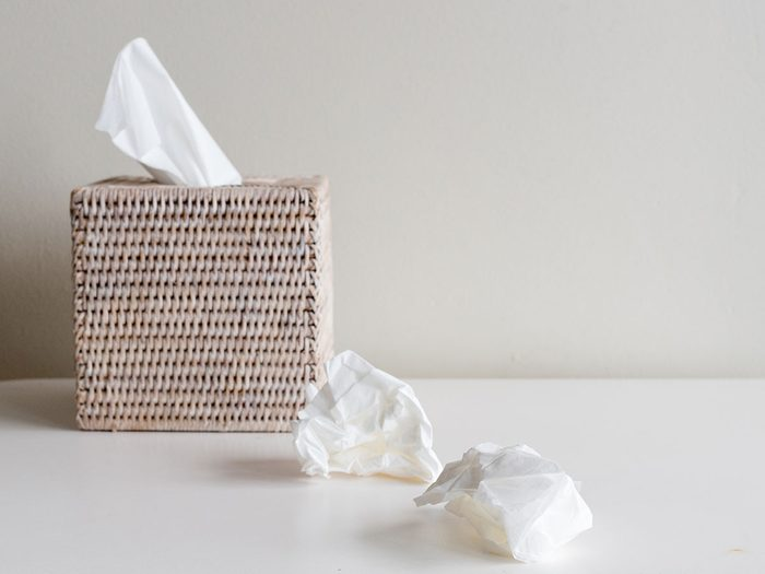 first sign of the flu tissues