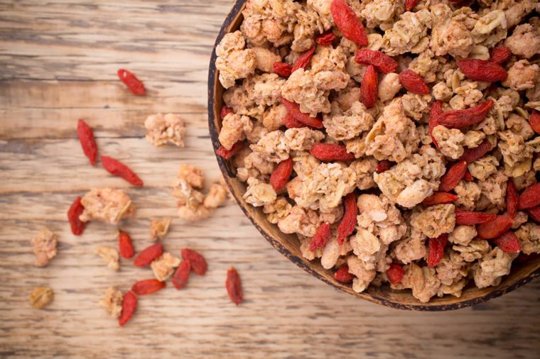Goji berries and granola in a bowl