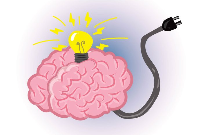 Graphic of human brain with light bulb on top and electrical cord coming out of bottom